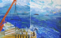23. Blue Waters Towards Sicily - Reggio - Diptych
