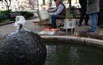 Gary Miles painting in Italy