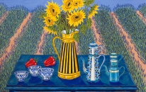Sunflowers and French Coffee Pots