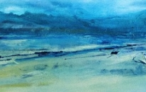 Ebb and Flow by Lynne Bickhoff Mixed Media On Linen 30 x 180 cm