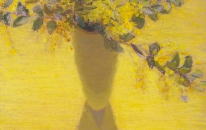 Yellow, Wattle, Tall Vase