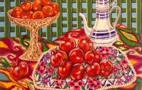 Pomegranates with Afghan textile