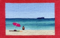 Cottesloe Beach - pink umbrella<br>SOLD