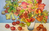 Autumn Leaves, Figs & Pomegranates 1