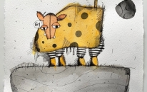 Dotty the Cow 601 and the Big Moon by Luke Rabl 25 x 33 cm