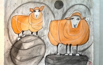 Sheep 16 & 11 Wool Bales and The Moon<br>SOLD