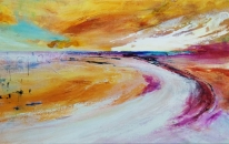 Golden Plains by Lynne Bickhoff Mixed Media on Linen 60 x 120 cm