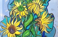 1 Sunflowers in blue (SOLD)