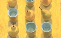 Yellow. Cups. Pears