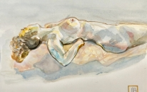 Female nude- reclining torso, medial aspect  350 x 410 mm  watercolour, arches 300gsm